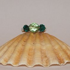 Silver Plated Wire Ring With Emerald Swarovski by ScottishPrincess
