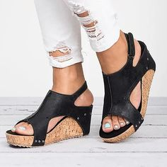 That doesn't absolutely adore gorgeous wedges?, look at our amazing choice of zip-back and shoulder strap wedges for every occasion! Peep Toe Shoes, Shoes Heels Wedges, Wedge Sandals, Wedge Shoes, Shoes Sandals, Shoe Boots, Nike Air Force 1, Nike Air Max, Womens High Heels
