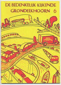 Cover by Jeroen de Leijer for zine 'De Bedenkelijk Kijkende Grondeekhoorn'.  #risograph #Extrapool #Knust