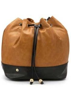 Red Or Dead faux tan and black leather duffle style rucksack or shoulder bag at Scarycanary Clothing