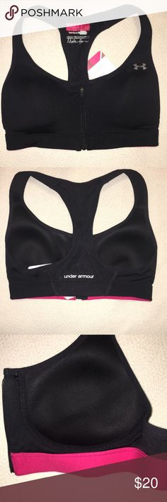 """NWT Under Armour sports bra Brand new with tags Under Armour sports bra. """"Made for me"""" style. Hi impact support, heat gear. Soft cups, underwire free. Has hook and eye as well as zipper closure in the front. Size 32 C Under Armour Intimates & Sleepwear Bras"""