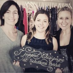 Congratulations to our newest #SolutionsBride Cassie for popping champagne with us today!!! #SBStylist Jessica  #sbsocial #bride #wedding #weddingdress #yttd #syttd #congratulations #congrats  http://solutionsbridal.com/