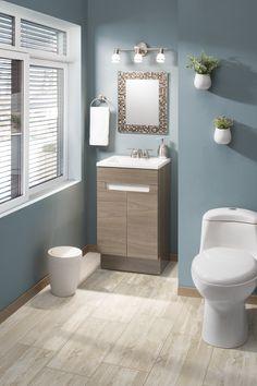 Gabinete con frentes termoformados en color olmo obscuro de estilo contemporaneo. Incluye lavabo color blanco. Bathroom Interior Design, Home Depot, House Colors, Small Bathroom, Sweet Home, New Homes, House Styles, Septic Tank, Laundry Room