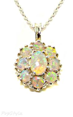 Natural Fiery Opal Large Cluster Necklace