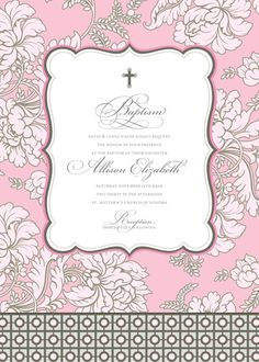 Pale Pink Brocade Baptism Invitation
