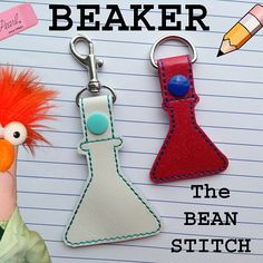 Beaker - TWO(2) Sizes Included!  #thebeanstitch #beanstitchers #TBS #ith #inthehoop #machineembroidery #felties #feltie #embroidery #digitaldownload #keyfobs #bagtag #diy #snaptab #snapbean #handmade #vinyl #felt #craft #etsy #shopsmall #embroiderygift #travel #everyday #design #multipurpose #science #school #lab #experiment #keychain #beaker Embroidery Software, Machine Embroidery Designs, Kam Snaps, Glitter Vinyl, Key Fobs, Baby Wearing, Mardi Gras, Free Design, Geek Stuff