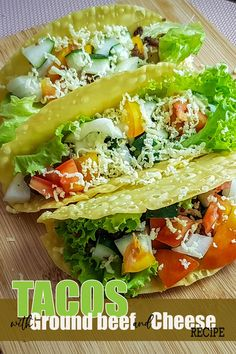 Home Made Tacos with Ground Beef and Cheese Pinoy Recipes. A Pinoy Style Tacos which compose of Healthy Ingredients like Vegetable and also beef. A Food for persons who do diets and have their health Conscious. Fried Fish Recipes, Pork Recipes, Cheesy Potato Balls Recipe, Pork Menudo Recipe, Healthy Foods, Healthy Recipes, Pork Stew, Pinoy Food, Homemade Tacos
