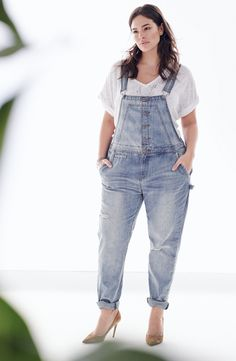 City Chic Distressed Overalls & Sejour Tee (Plus Size)