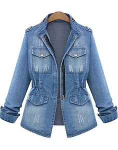 BaZhaHei Womens Plus Size Casual Demin Jacket Ladies Denim Oversize Jeans Chain Jacket with Pocket Turn-Down Collar Sport Coat Ripped Denim, Denim Jeans, Jacket Jeans, Washed Denim, Distressed Denim, Casual Jeans, Women's Casual, Bleached Denim, Denim Shirts