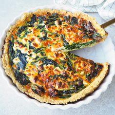 Glutenvrije quiche met spinazie Vegetable Pizza, Meals, Vegetables, Food, Kitchens, Meal, Veggie Food, Vegetable Recipes, Vegetarian Pizza