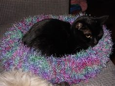 Kitty Bed by knitnlit, via Flickr -  find on Ravelry - pattern from Stitch and Bitch.  Finally a use for Fun Fur yarn!