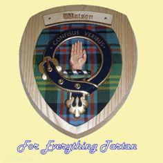 Clan Watson Tartan Woodcarver Wooden Wall Plaque Watson Crest 7 x 8
