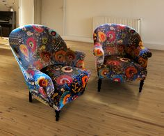 French Bucket Salon Chairs re-upholstered in the stunning Lewis and Wood Joseph fabric.  These striking chairs would make a statement in any room both useful and beautiful.