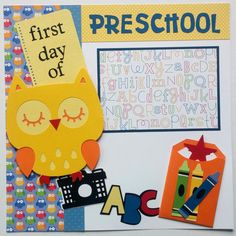 Scrapbook premade pages 12x12 - Back to school premade scrapbook 12x12 - Premade First day of school layout - Premade 12x12…