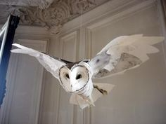 Barn owl made out of paper