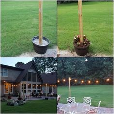 How to make inexpensive poles to hang string lights on caf style diy post to hang patio lights 25 each fake whiskey barrel 8ft landscape timber and quick set concrete leave room after drying for dirt and flowers solutioingenieria Choice Image