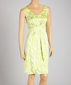 Love this Lime Stripe Sleeveless V-Neck Dress by Cece's New York on #zulily! #zulilyfinds