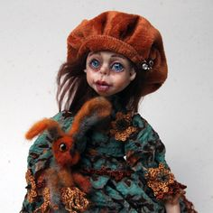 Art Doll | Handmade Doll Candy Friend Rabbit | Collectibles Doll | Home Decor Doll | OOAK Doll | Felting Doll Rabbit | Polymer Clay Doll by DovileDollart on Etsy