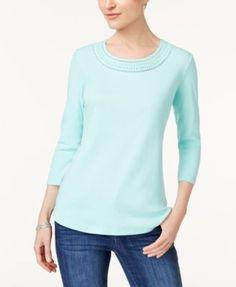 Karen Scott Cotton Eyelet-Trim T-Shirt, Created for Macy's - Purple XXL
