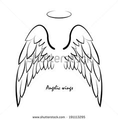 Vector sketch of two big white wing. Vector sketch of two big white wing. Vector sketch of two big white wing. Angel Wings Art, Angel Wings Drawing, Body Art Tattoos, Tribal Tattoos, Small Tattoos, Tattoos Skull, Tattoo Art, Wings Sketch, Diy Angels