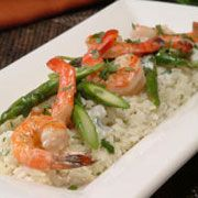 Ginger cilantro rice with grilled coconut shrimp