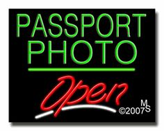 "passport Photo Open Neon Sign - Script Text - 24""x31""-ANS1500-2758-3g  31"" Wide x 24"" Tall x 3"" Deep  Sign is mounted on an unbreakable black or clear Lexan backing  Top and bottom protective sides  110 volt U.L. listed transformer fits into a standard outlet  Hanging hardware & chain included  6' Power cord with standard transformer  Includes 2nd transformer for independent OPEN section control  For indoor use only  1 Year Warranty on electrical components."
