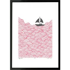 Lu West - Bigger Boat Print in Rose Quartz - A3 (105 BAM) ❤ liked on Polyvore featuring home, home decor, wall art, ocean wall art, black framed wall art, sailboat wall art, sea home decor and white framed wall art