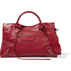 Balenciaga City textured-leather tote ($1,950) ❤ liked on Polyvore featuring bags, handbags, tote bags, handbag's, crimson, handbags totes, zip tote, balenciaga handbags, convertible tote and zippered tote bag
