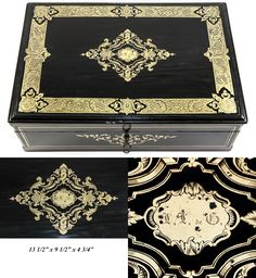 "Antique French 13.5"" Table or Jewelry Box, Casket, Boulle Inlays, from antiques-uncommon-treasure on Ruby Lane"