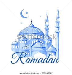 Ramadan Kareem Mosque night Blue greetings background Vector watercolor illustration - Shutterstock