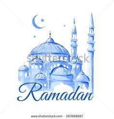 Ramadan Kareem Mosque night Blue greetings background Vector watercolor illustration - Shutterstock