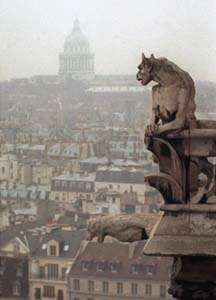 Gargoyles on the Notre Dame cathedral in Paris, France