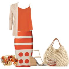 A fashion look from May 2014 featuring v neck tops, pink jacket and red skirt. Browse and shop related looks.