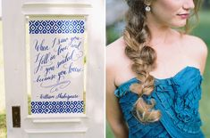 Loose braid   blue calligraphy