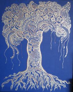 Henna Mehndi Tree of Life Canvas Custom Colors Design