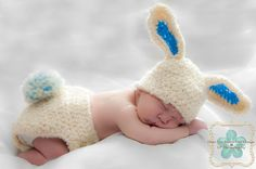 The Bunny Diaper cover and hat set