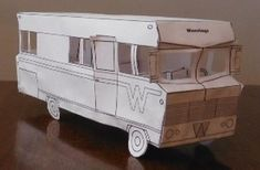 1969`s Winebago Trailer Paper Model - by Family Outdoor Adventures    A really nice paper model in black and white of a 1969`s Winebago, the classic american motorhome, with a very detailed interior and in just two sheets of paper, offered by Family Outdoor Adventures. Great model for kids, to coloring and assemble!