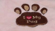 #KallieJosCottonPatch on Artfire                    #love                     #Embroidered #Love #Tahoe #Pink #Soft #Fleece #Buddy #Blanket                 Embroidered I Love My Pug Paw Tahoe Pink Soft Fleece Buddy Blanket                                      http://www.seapai.com/product.aspx?PID=1527808