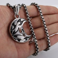 Skull Crescent Moon Pendant Chain 316 L Stainless Steel Necklace 22 inch Box Chain