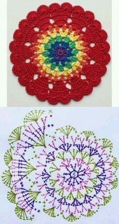 Transcendent Crochet a Solid Granny Square Ideas. Inconceivable Crochet a Solid Granny Square Ideas. Crochet Mandala Pattern, Crochet Circles, Crochet Flower Patterns, Crochet Diagram, Crochet Stitches Patterns, Crochet Chart, Crochet Squares, Crochet Designs, Crochet Flowers