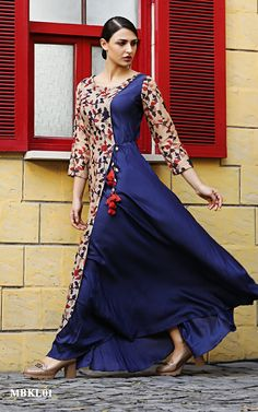 Buy MeenaBazaar Navy Blue Floral Print Chanderi Kurti online in India at best price. This kalamkari floral print kurti crafted in chanderi, round neckline,graceful print,wooden buttons Pakistani Dresses, Indian Dresses, Indian Outfits, Kurta Designs, Blouse Designs, Casual Dresses, Fashion Dresses, Ethnic Dress, Anarkali