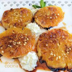 Naranjas tostadas con miel < Divina cocina Fruit Recipes, Mexican Food Recipes, Dessert Recipes, Desserts, Tostadas, Spanish Food, Omelette, Churros, Something Sweet