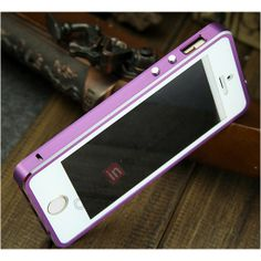 e6871e204ba Deluxe Aluminum Metal Case With Tempered Glass For iPhone 5/5S - Purple  US$21.99