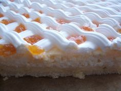 Rákóczi túrós -- Rákóczi Cottage Cheese Cake with fruit jam on the top - Hungary Hungarian Desserts, Hungarian Cuisine, Hungarian Recipes, Hungarian Food, Good Food, Yummy Food, Fruit Jam, Sweet Cookies, Cake Bars