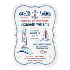 Nautical Baby Shower Invitation — Anchors Aweigh! Nautical themed invitation with anchor, lighthouse, sailboat, fish, and starfish. Rope frame border. The back of the card has a striped background. Customize with your own text. Great for Ocean, Sea, Lake events or parties. Original Illustration by pj_design.
