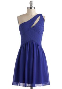 Ballroom Belle Dress - Blue, Party, A-line, Mid-length, Cutout, Solid, One Shoulder, Prom