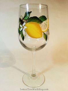 Hand Painted Lemon Wine Glass 18.5 oz by LemonTreeWorkshop on Etsy