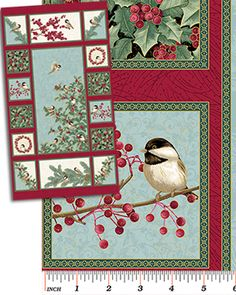"""One Fabric Quilt Panel, """"Chickadees and Berries"""" by Jackie Robinson of Animas Quilts for Benartex, Needlecraft-Sewing, Quilting Supplies Fabric Panel Quilts, Fabric Panels, Cotton Crafts, Quilt Material, Christmas Fabric, Quilt Kits, Quilt Block Patterns, Cotton Quilts, Chickadees"""