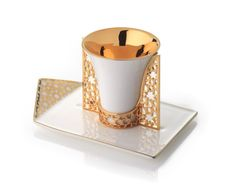 gold encrusted cup and saucer | ARABESQUE ESPRESSO CUP HOLDER AND SAUCER GOLD | Luxury Jewelry ...