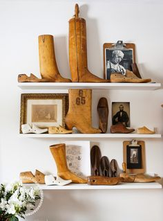 I love this collection of shoe forms in this bedroom remake. She also displays some old photos on vintage clip boards. So easy to change out the photos that way!